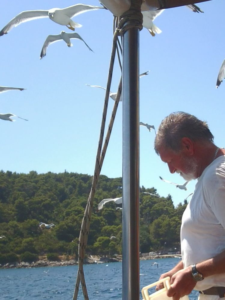 Sailor Feeding Seagulls. Summer is a Ghost from the Past. Elaphite Islands, Croatia. 2011. © Trashbus ǀ Renata Britvec