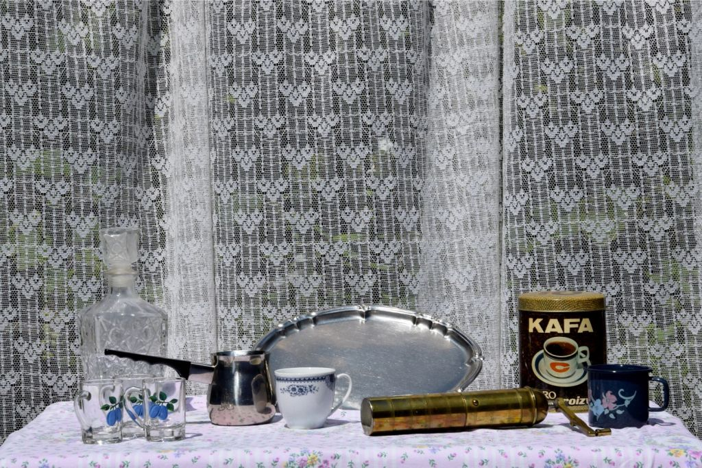 Rakija, Silver Platter, and Coffee. Her Spirit and Her Things. Lipnica – Tuzla, BiH. 2018 © Trashbus ǀ Renata Britvec