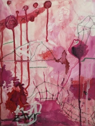Paint it Red. Oil pastel, watercolor & wax crayon on paper. 24 x 32 cm. © Trashbus ǀ Renata Britvec, 2020