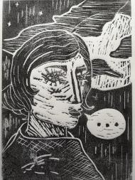 Madame Edwarda. Linoleum print. 15 x 21 cm. © Trashbus ǀ Renata Britvec, 2021